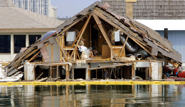 A floating home ruined by Hurricane Wilma is seen in North Bay Village, Florida, on February 15, 2006.