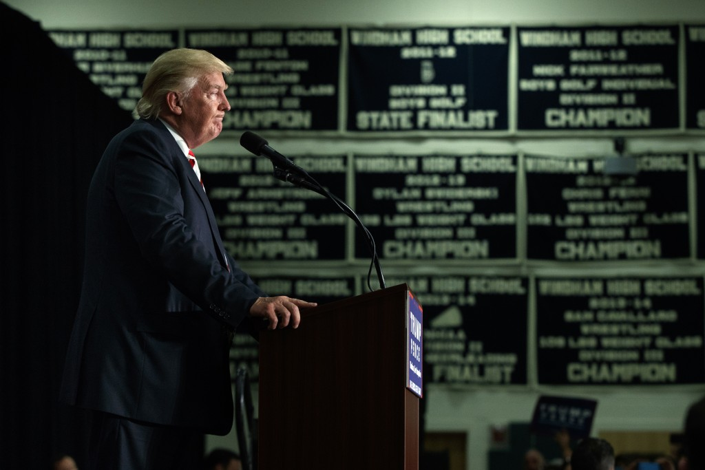 Donald Trump speaks during a campaign rally at Windham High School in Windham, New Hampshire, on August 6, 2016.