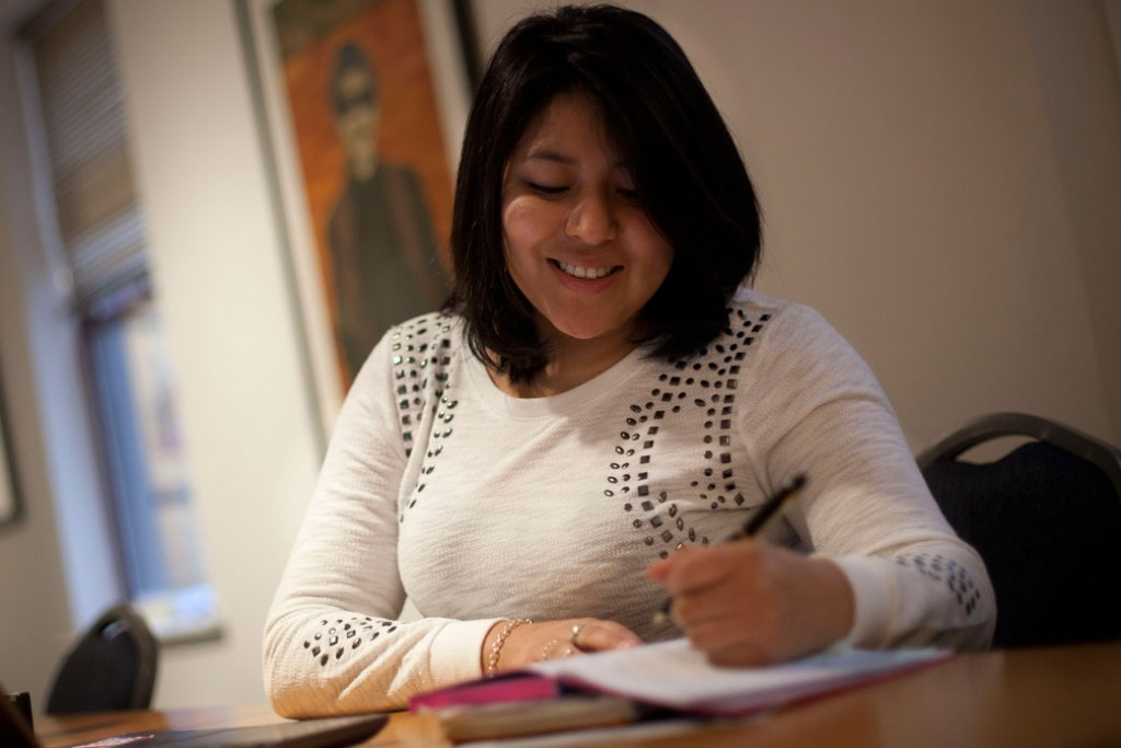 Hareth Andrade, who was born in Bolivia, works at the Mexican American Legal Defense and Education Fund office in Washington, D.C., on February 7, 2014.