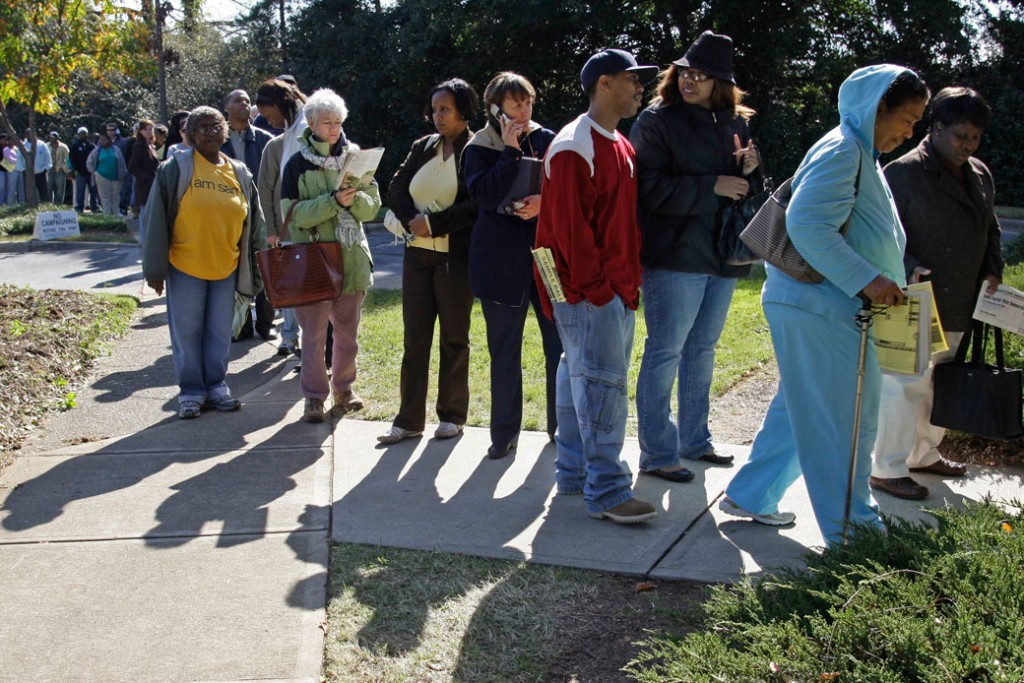Voters stand in line at a voting site in Charlotte, North Carolina, on October 23, 2008.