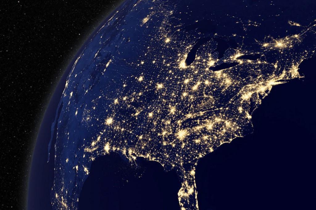 View of North America at night, courtesy of NASA's Goddard Space Flight Center Scientific Visualization Studio