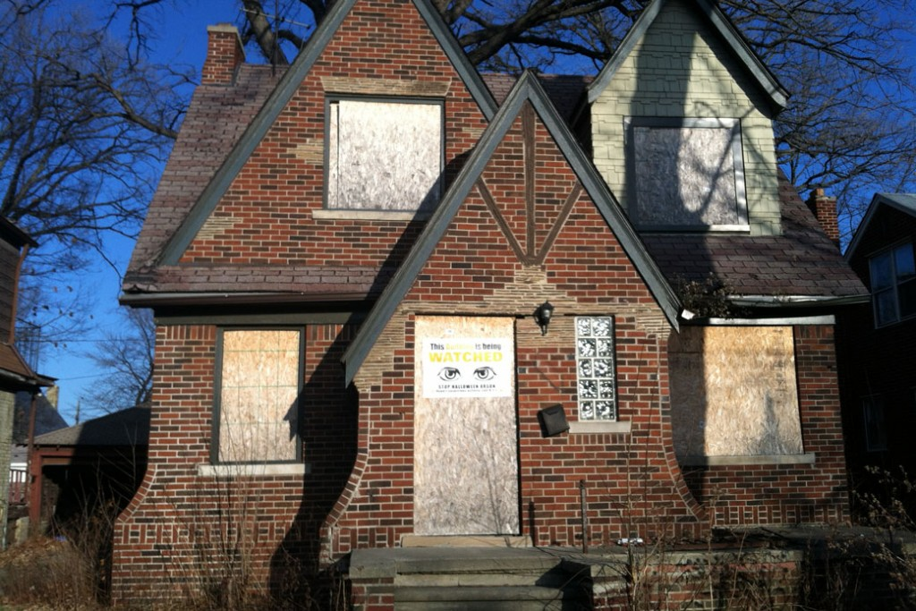 This December 3, 2014, photo shows an abandoned house in Detroit, one of thousands of dilapidated buildings in Detroit.