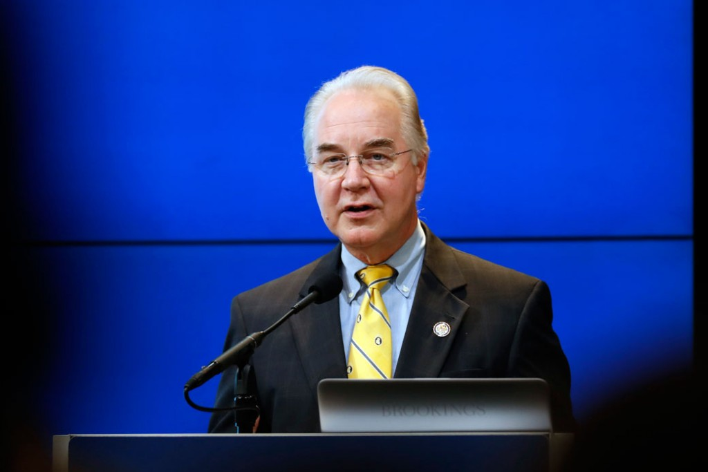 Rep. Tom Price delivers the keynote address at an event on reforming the federal budget and hosted by the Brookings Institution on November 30, 2016.
