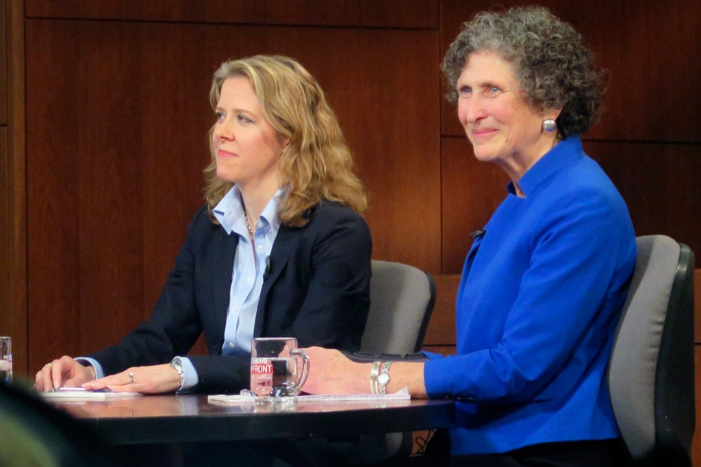 Wisconsin Supreme Court Justice Rebecca Bradley, left, and opponent JoAnne Kloppenburg listen during a debate at Marquette University in Milwaukee on March 15, 2016.