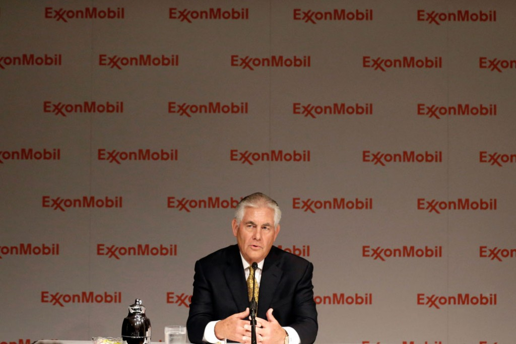 Then-ExxonMobil CEO Rex Tillerson speaks to reporters in Dallas on May 28, 2014.