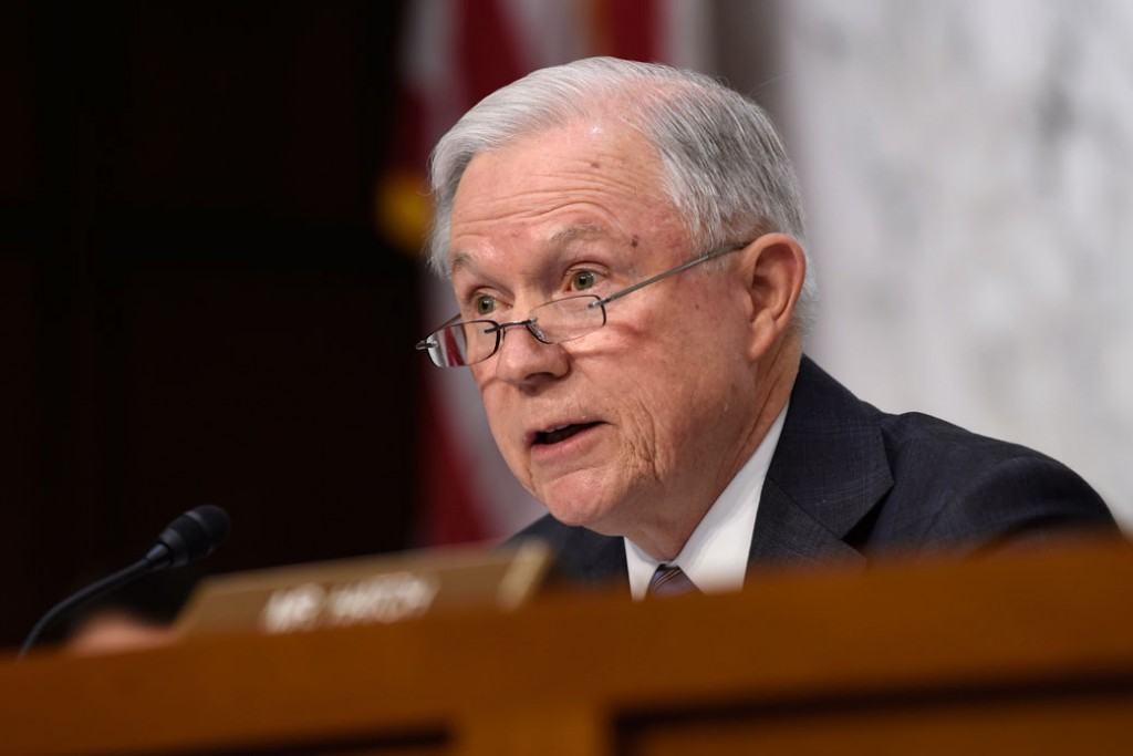 Sen. Jeff Sessions questions then-Attorney General nominee Loretta Lynch in January 2015 during the Senate Judiciary Committee's hearing on Lynch's nomination.