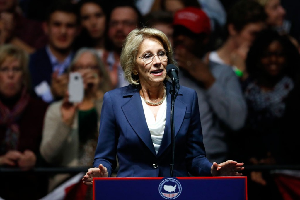 Betsy DeVos speaks during a rally in Grand Rapids, Michigan, on December 9, 2016.