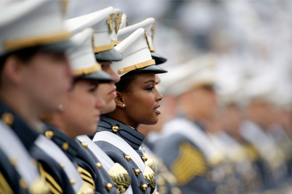 Cadets attend their graduation and commissioning ceremony at the U.S. Military Academy on May 21, 2016.