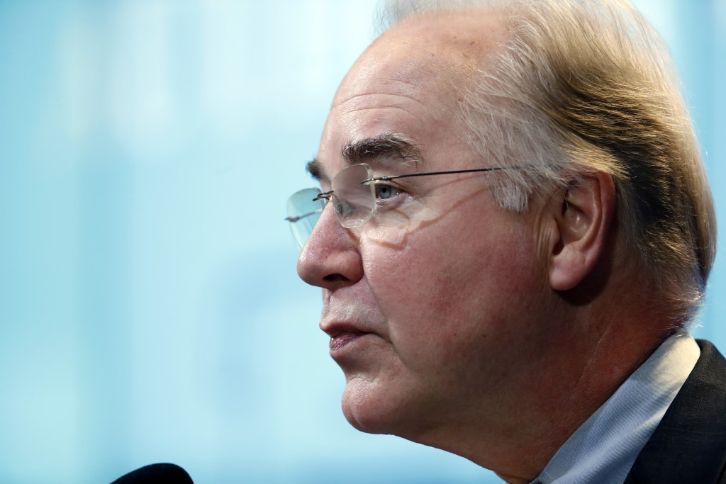 House Budget Committee Chairman Tom Price (R-GA), President-elect Donald Trump's choice for health and human services secretary, delivers the keynote address at an event hosted by the Brookings Institution, November 30, 2016, in Washington.