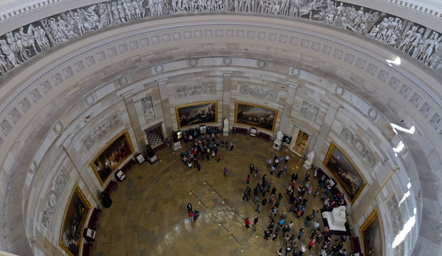 Visitors tour the Rotunda on Capitol Hill in Washington, Tuesday, November 15, 2016.