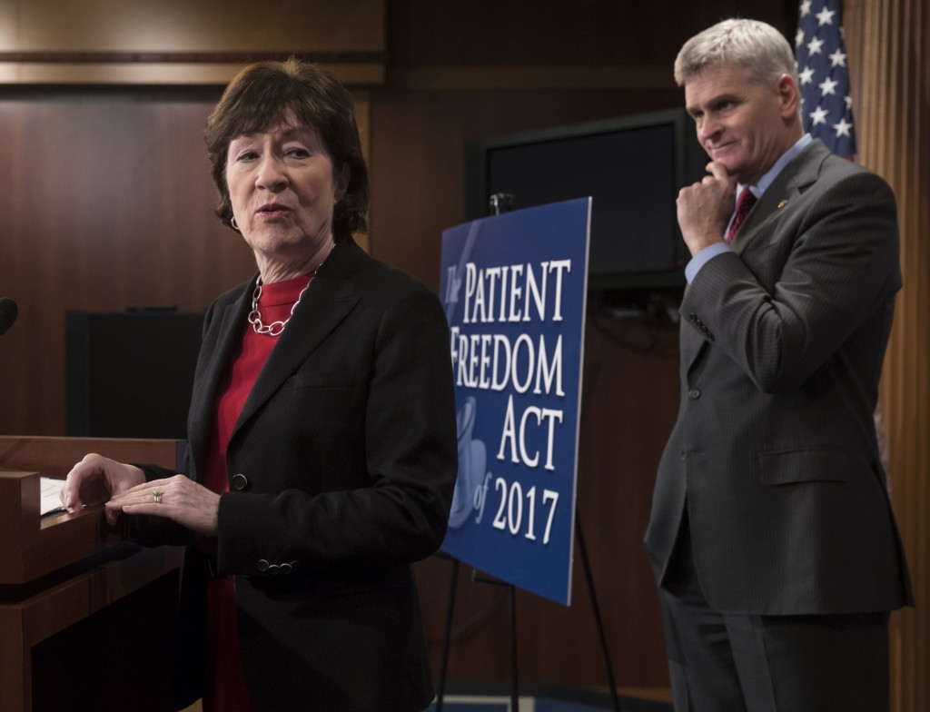 Sen. Susan Collins (R-ME) accompanied by Sen. Bill Cassidy (R-LA), speaks during a news conference on Capitol Hill in Washington, January 23, 2017, to announce the Patient Freedom Act of 2017.