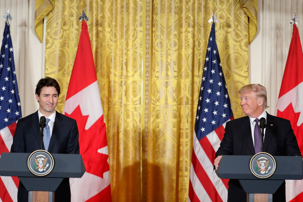 President Donald Trump and Canadian Prime Minister Justin Trudeau speak at the White House on February 13, 2017.