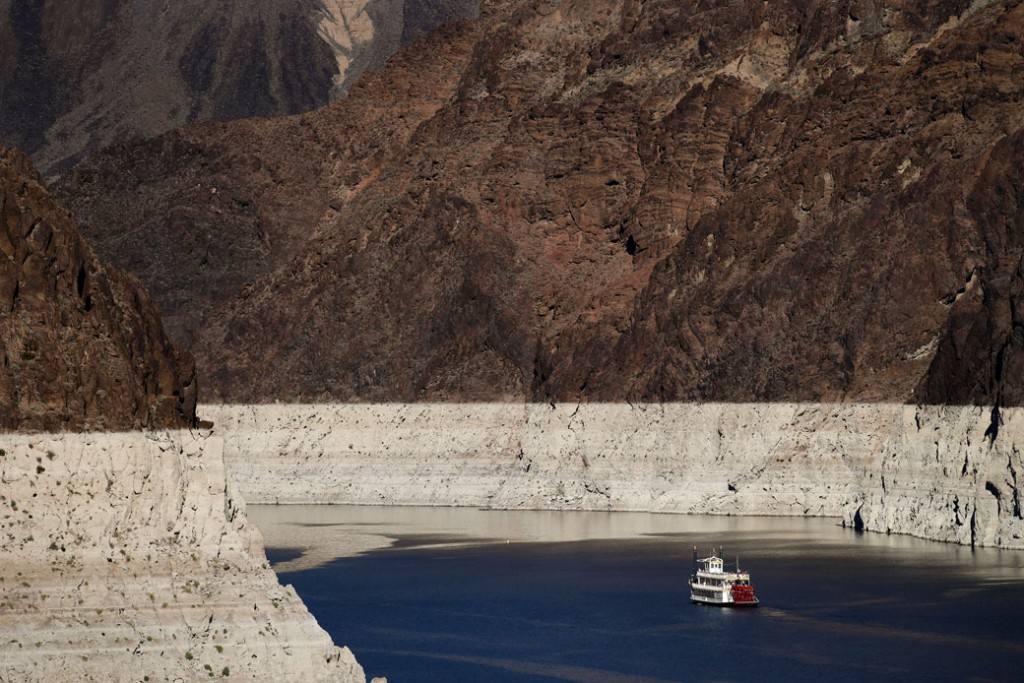 A riverboat glides through Lake Mead on the Colorado River near Boulder City, Nevada, on October 14, 2015.