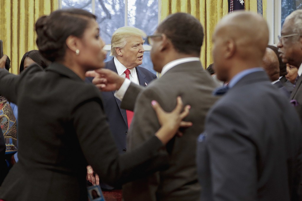 President Donald Trump meets with leaders of historically black colleges and universities in the Oval Office of the White House in Washington, February 27, 2017.