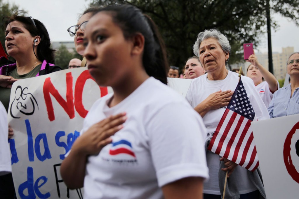 Protesters take part in a rally to support sanctuary cities and oppose a border wall on February 28, 2017, in Austin, Texas.