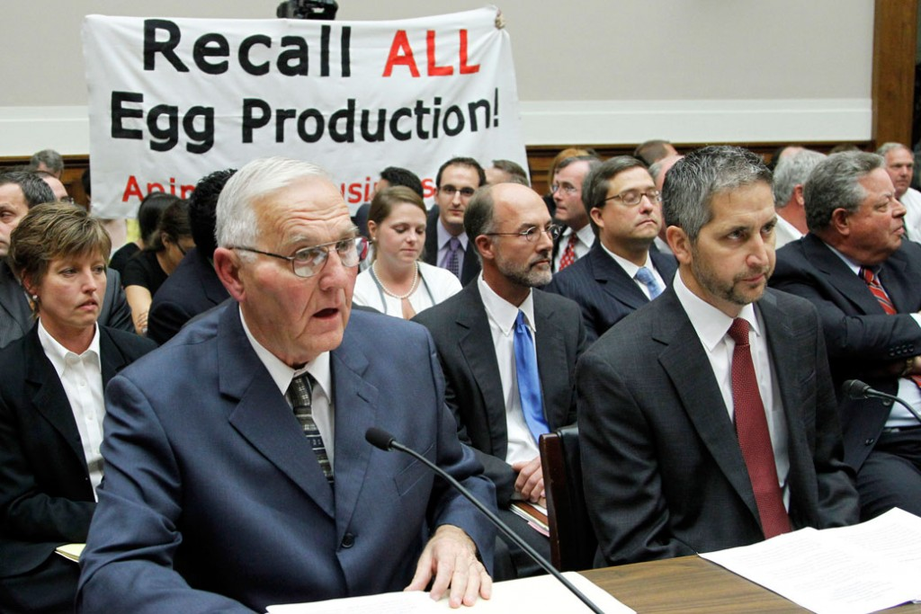 "Wright County Egg owner Austin ""Jack"" DeCoster, left, and his son, CEO Peter DeCoster, testify before the House Oversight and Investigations subcommittee hearing on ""The Outbreak of Salmonella in Eggs"" in Washington on September 22, 2010."