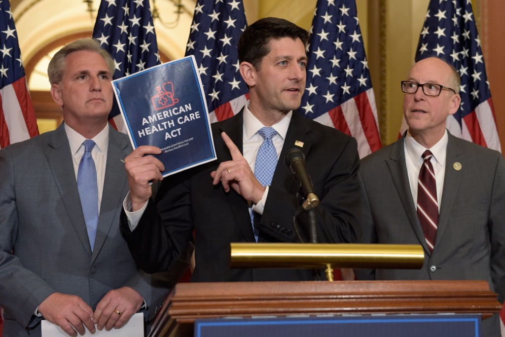 House Speaker Paul Ryan (R-WI), center, speaks during a news conference on the American Health Care Act on March 7, 2017.