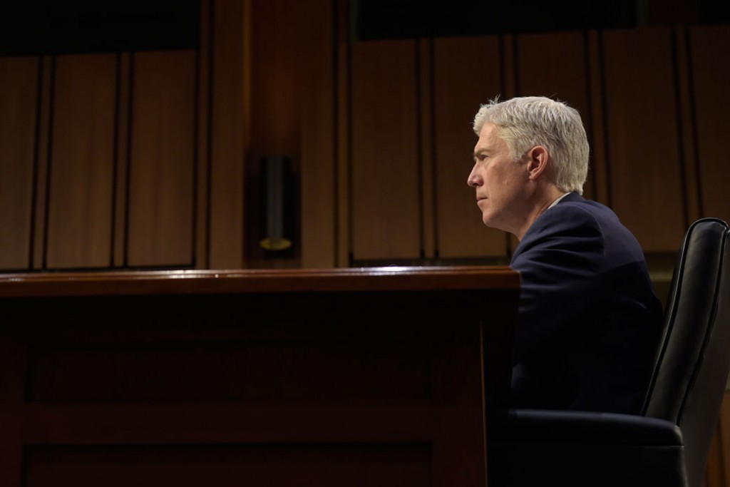 Supreme Court Justice nominee Neil Gorsuch testifies on Capitol Hill in Washington, Wednesday, March 22, 2017, during his confirmation hearing before the Senate Judiciary Committee.
