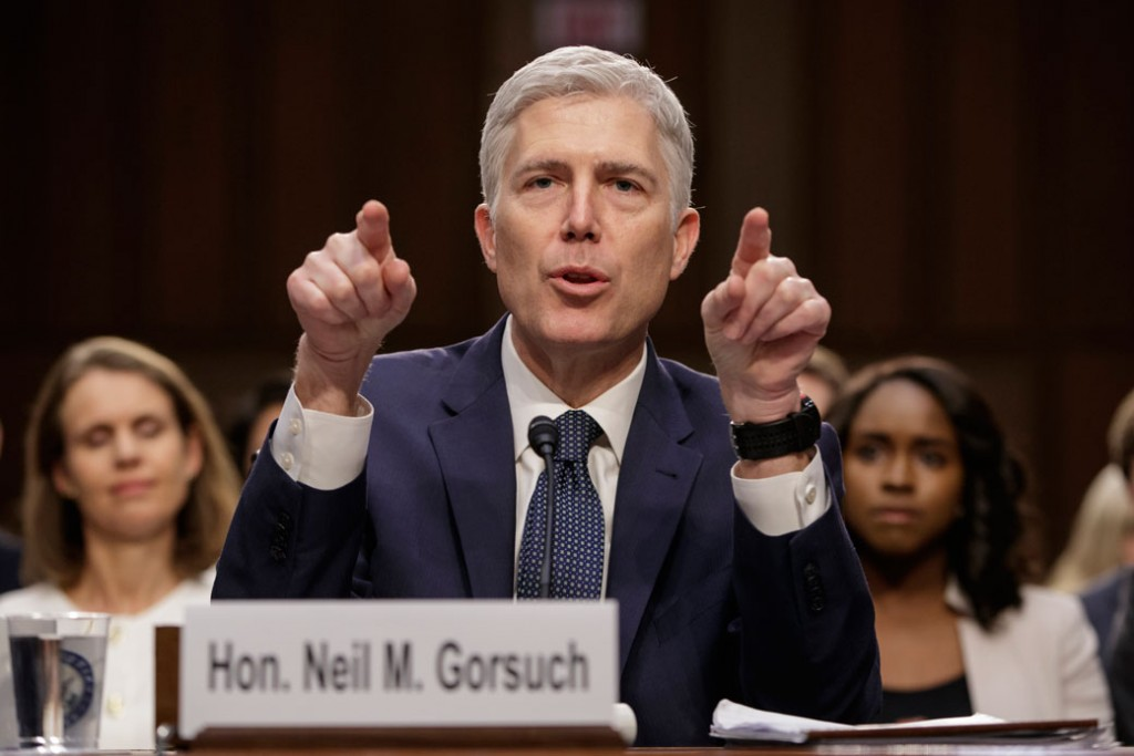 Judge Neil Gorsuch testifies in Washington at his confirmation hearing before the Senate Judiciary Committee, March 22, 2017.