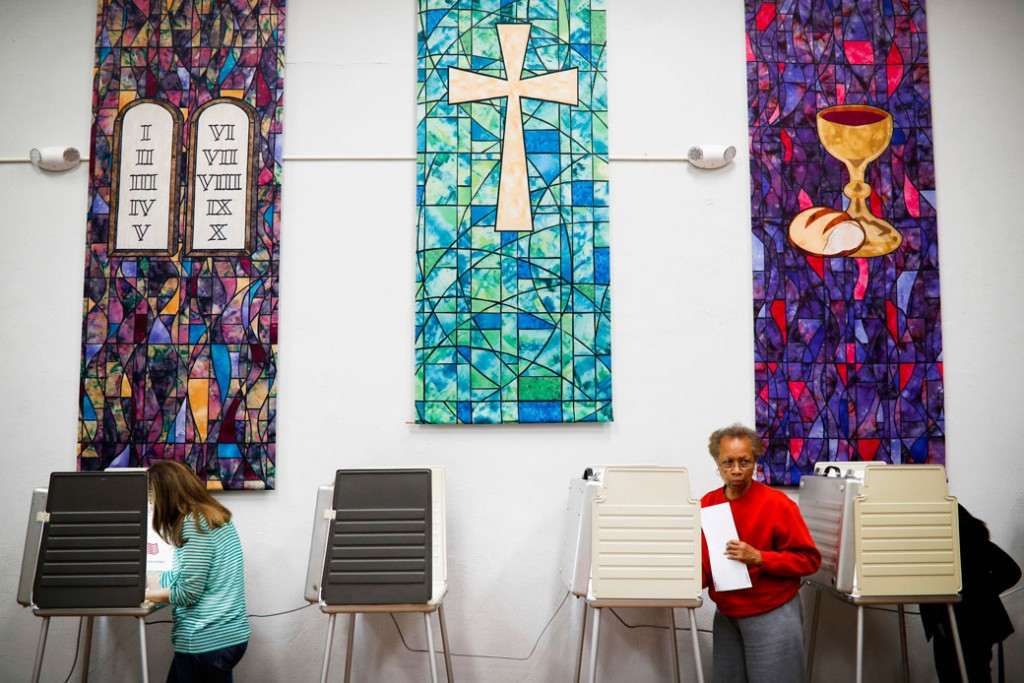 Voters are seen at a polling place inside a Presbyterian church in Cincinnati on November 8, 2016.