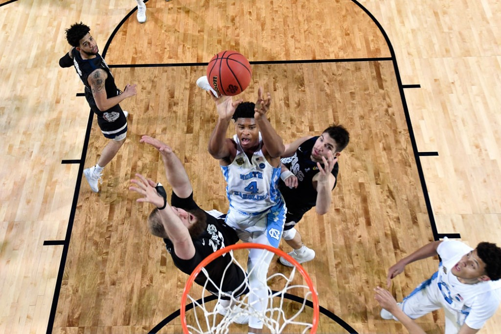 The University of North Carolina's Isaiah Hicks takes a shot during an NCAA basketball tournament game against Gonzaga University on April 3, 2017, in Glendale, Arizona.