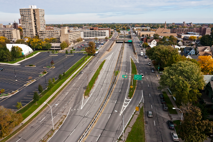 <strong>Wide cross-section of the Inner Loop East</strong><br />PHOTO COURTESY OF THE CITY OF ROCHESTER