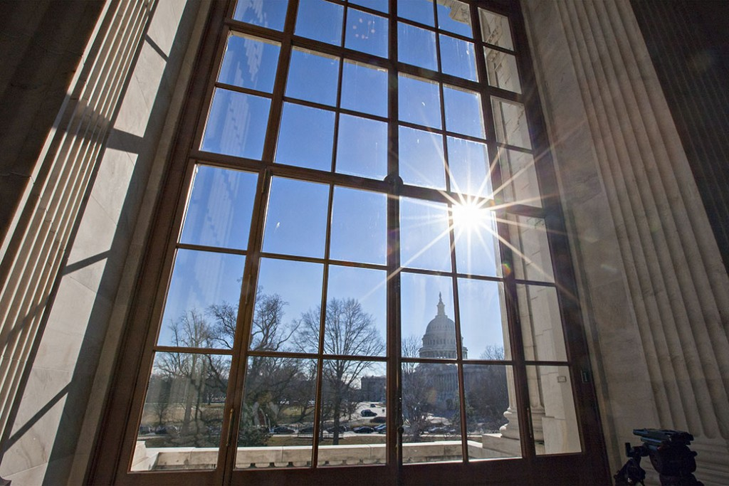 The Capitol is seen from the Russell Senate Office Building on Capitol Hill in Washington, January 2014.