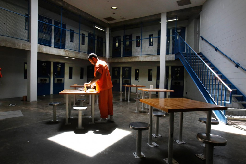 An inmate uses the recreation room of one of the housing units at a correctional center in Elk Grove, California, May 30, 2013.