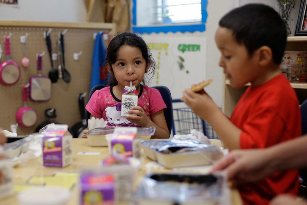 Pre-K students have lunch in San Antonio on April 2, 2014.