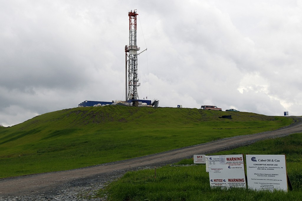 A drilling rig is seen in Springville, Pennsylvania, October 2011.