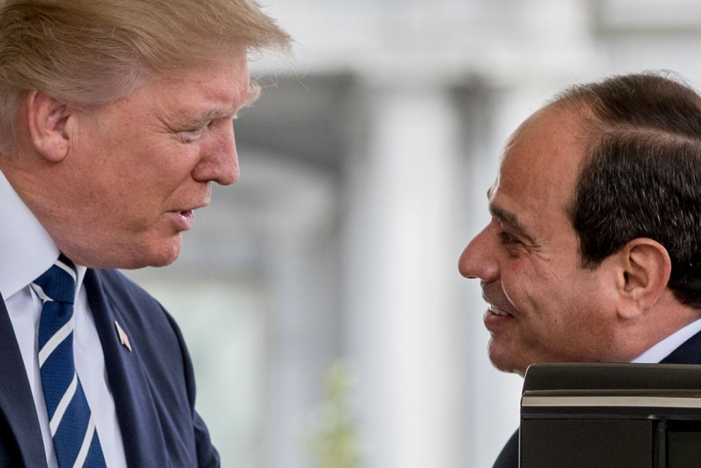 President Donald Trump greets Egyptian President Abdel Fattah Al-Sisi as he arrives at the White House, April 3, 2017, in Washington.