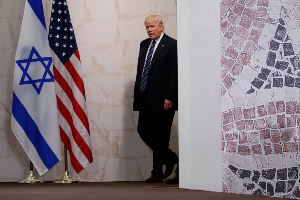 President Donald Trump arrives to deliver a speech at the Israel Museum in Jerusalem, May 23, 2017.