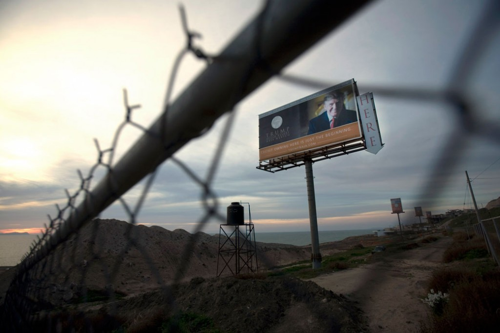 A Trump Ocean Resort Baja highway billboard remains on the project lot on the outskirts of Tijuana, Mexico, February 2009.
