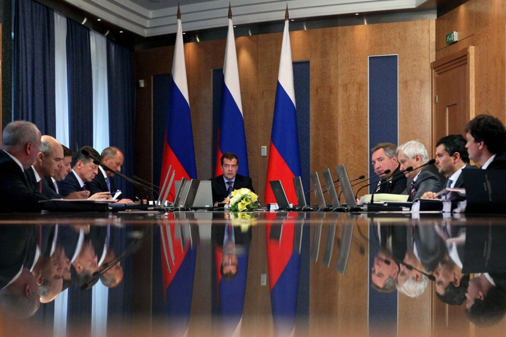 Russian Prime Minister Dmitry Medvedev holds a meeting with a supervisory board of Russian state-owned investment bank Vnesheconombank in Moscow, July 11, 2012.