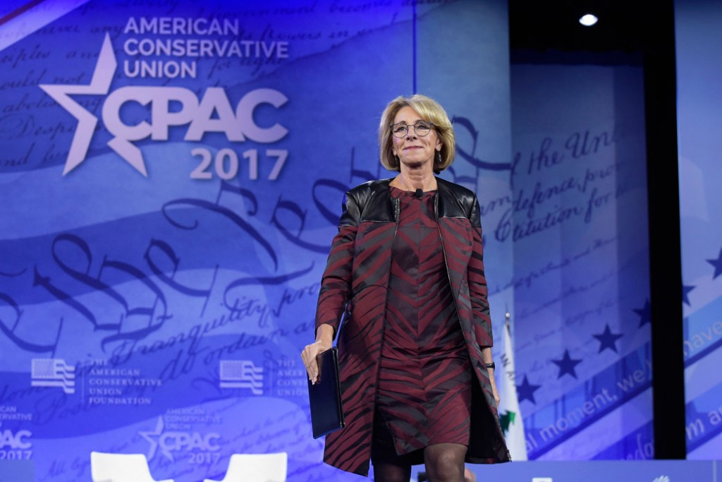 Education Secretary Betsy DeVos arrives to speak at the Conservative Political Action Conference in Oxon Hill, Maryland, February 2017.