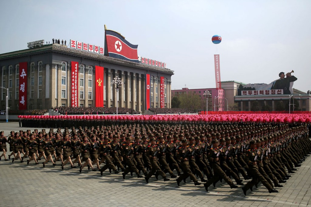 In this Saturday, April 15, 2017, photo, soldiers march across Kim Il Sung Square during a military parade in Pyongyang, North Korea.
