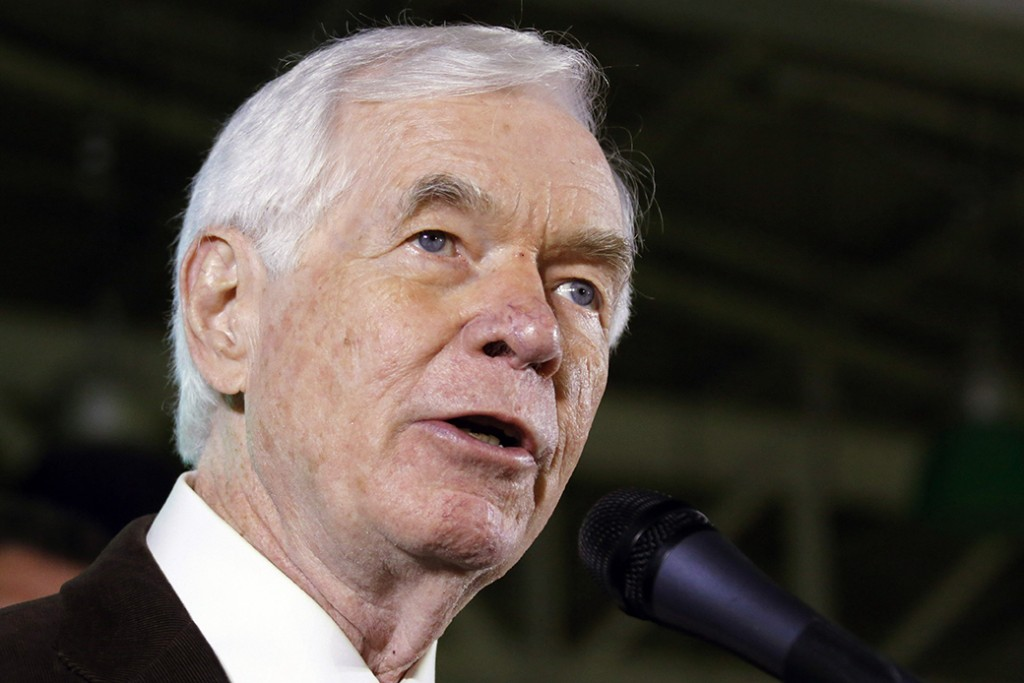 Sen. Thad Cochran (R-MI), current chair of the Senate Appropriations Committee, speaks to supporters following an election victory, November 4, 2014.