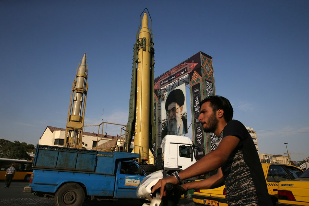 Image result for Ghadr ballistic missile, on display, Iran, photos, February 2018
