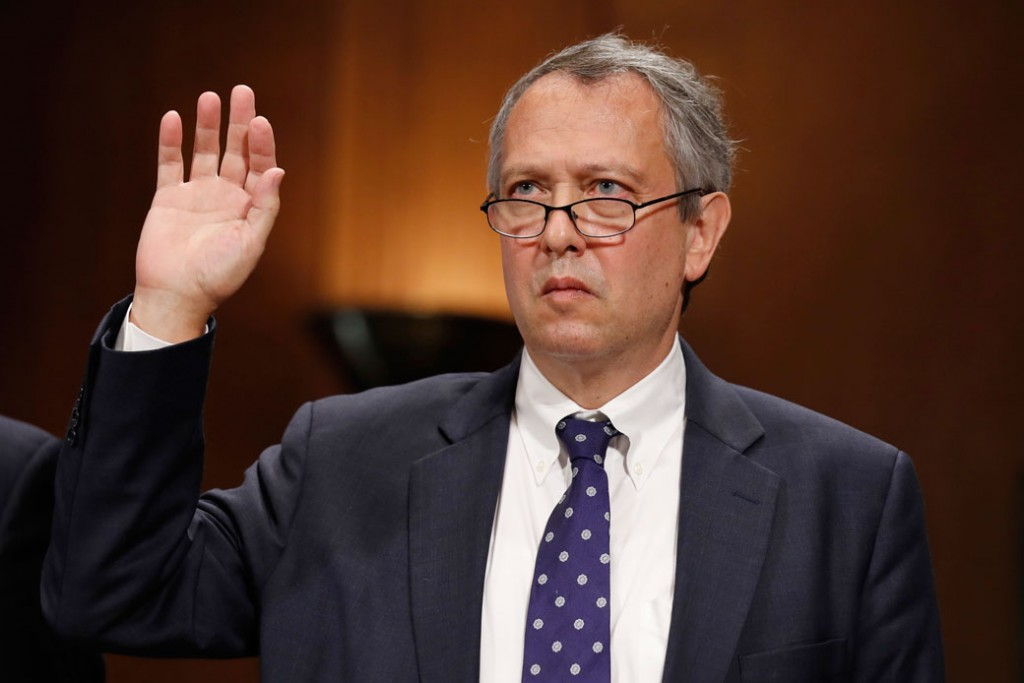 Thomas Farr is sworn in during a Senate Judiciary Committee hearing on his district court nomination in Washington, September 20, 2017.
