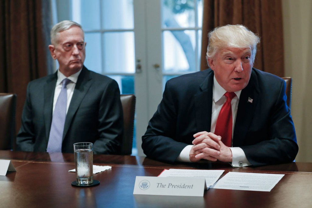 President Donald Trump speaks during a briefing with senior military leaders, October 2017.