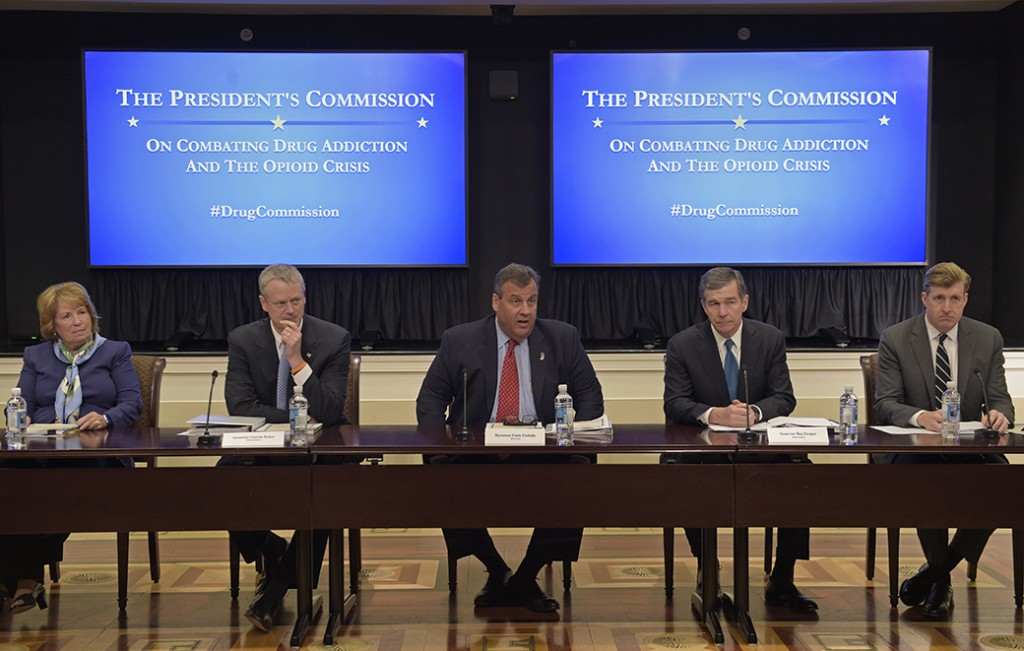 New Jersey Gov. Chris Christie (R), center, chairman of the President's Commission on Combating Drug Addiction and the Opioid Crisis, speaks at the beginning of the first meeting of the commission, June 16, 2017, in the Eisenhower Executive Office Building at the White House complex in Washington. From left are Dr. Bertha K. Madras, a Harvard Medical School professor who specializes in addiction biology; Massachusetts Gov. Charlie Baker (R); Christie; North Carolina Gov. Roy Cooper (D); and former Rhode Island Rep. Patrick Kennedy (D).