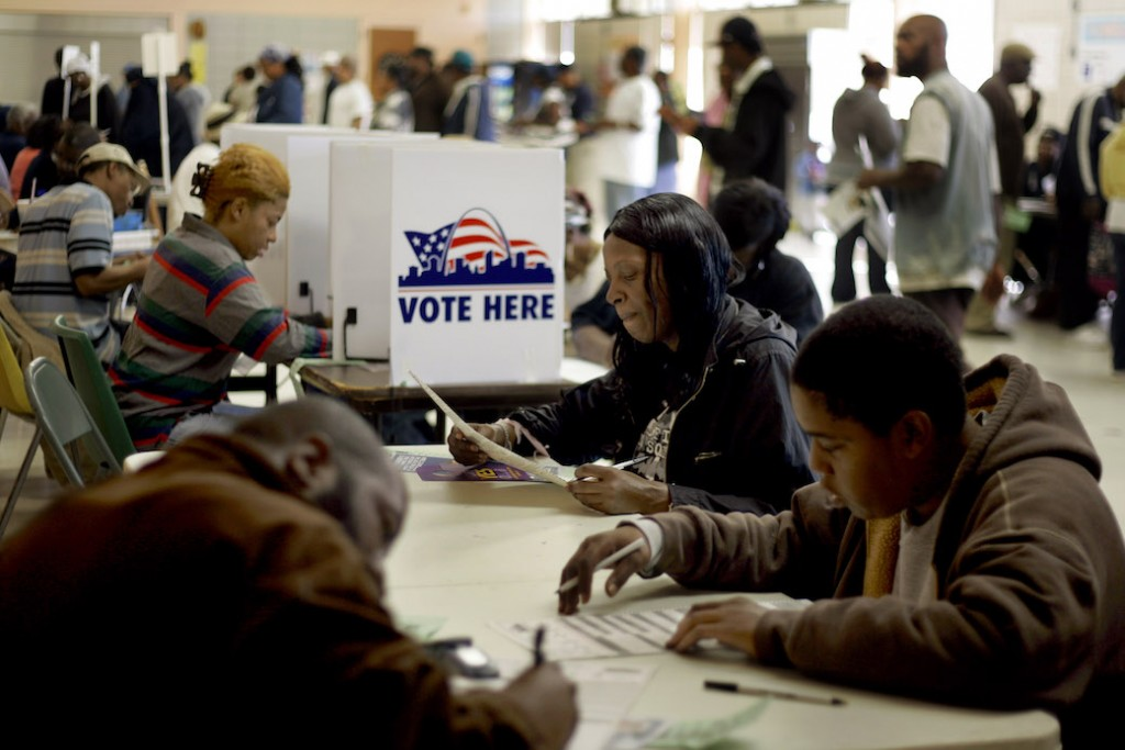 Voters in a predominantly African American polling place in St. Louis, Missouri, cast their ballots, November 2008.