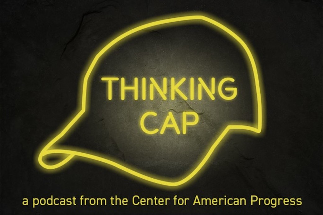 "The Thinking CAP podcast logo, a yellow neon cap against a black background with the word ""Thinking CAP"" in the middle."
