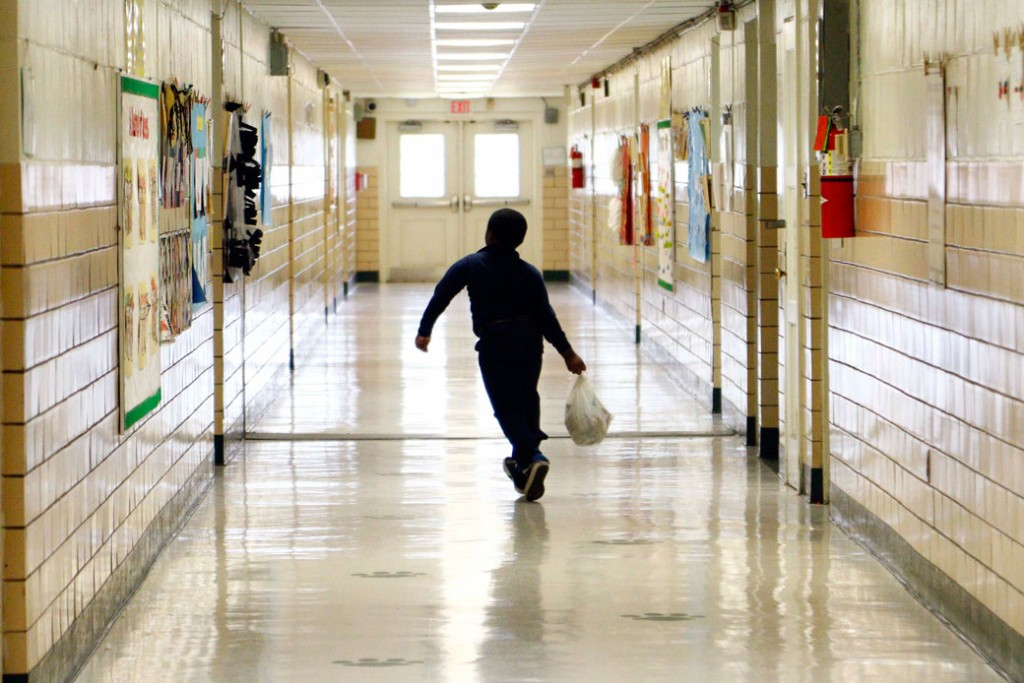An elementary school student skips to class in Jackson, Mississippi, October 28, 2015.