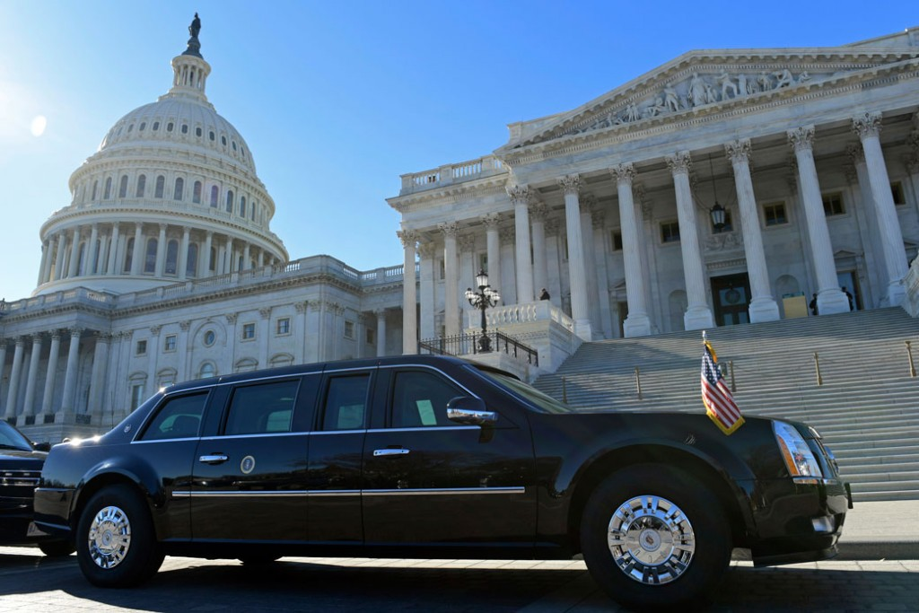 One of the presidential limousines parked on Capitol Hill in Washington, November 2017.
