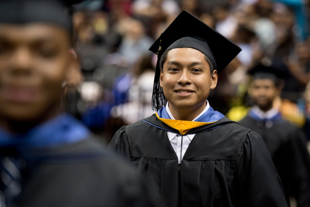 A 17-year-old graduates in a commencement exercise at Barclays Center in Brooklyn, New York, on June 5, 2017.
