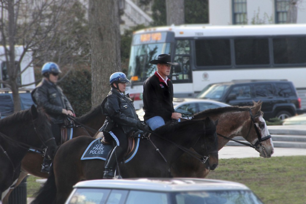 AP/Interior DepartmentInterior Secretary Ryan Zinke Arrives On Horseback  For His First Day Of Work In Washington, D.C., March 2, 2017.