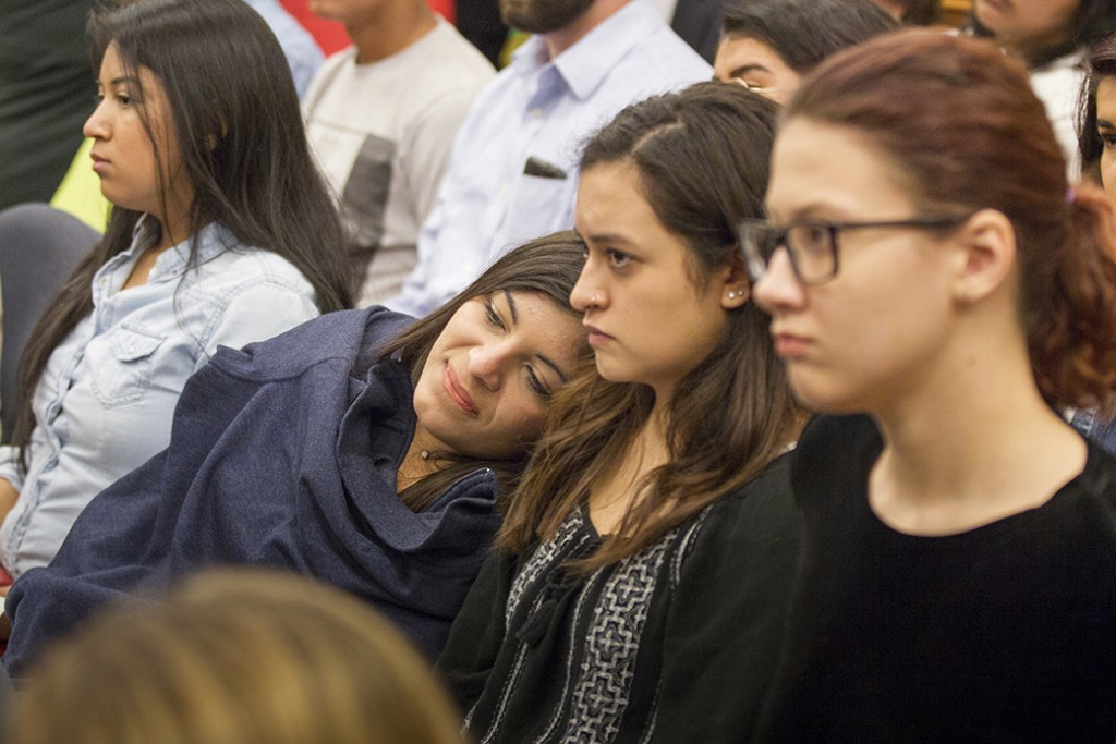 Students listen to a debate over a bill seeking to offer in-state tuition rates to unauthorized public college students, in Nashville, Tennessee, April 2017.