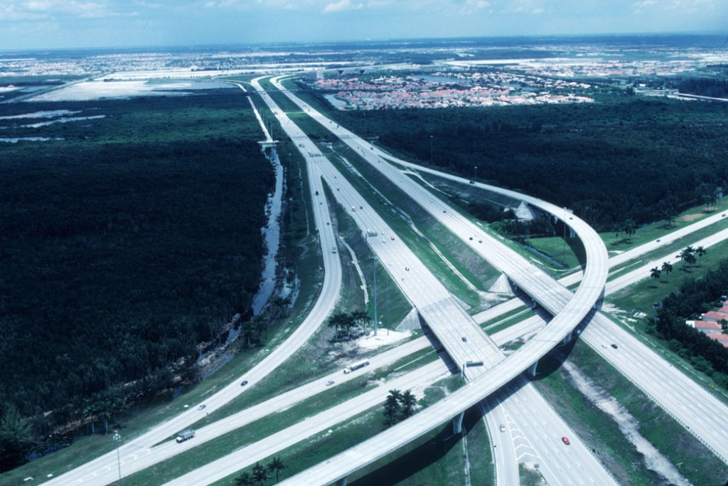 A highway runs over the Florida Everglades, June 1999.