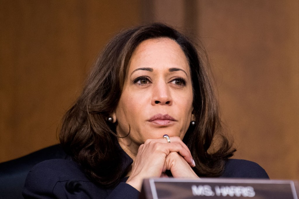 "Sen. Kamala Harris (D-CA) listens during the Senate Judiciary Committee hearing, ""Oversight of the United States Department of Homeland Security,"" January 2018."